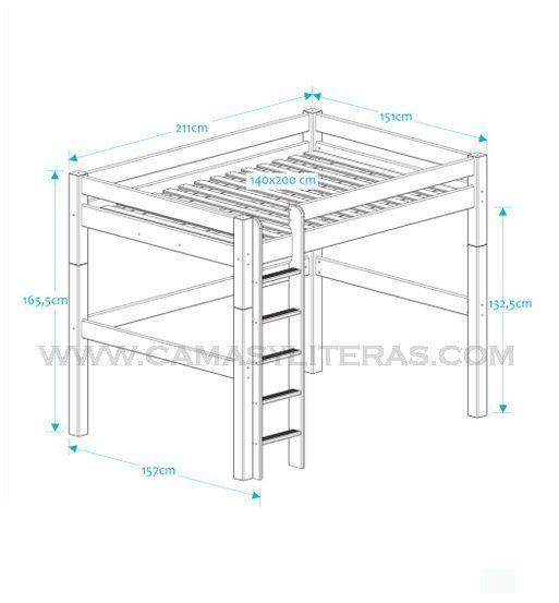 Cama alta fenix alta 140 x 200 camas y literas - Escaleras para camas altas ...