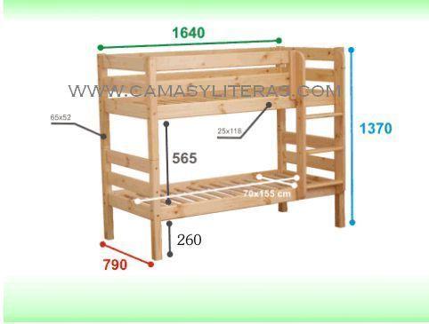Litera sasha 70 x 160 camas y literas - Medidas de literas infantiles ...