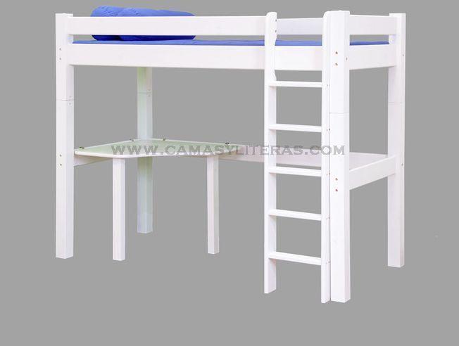Cama alta fenix escritorio camas y literas - Cama con escritorio abajo ...