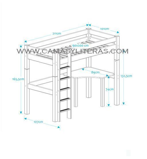 Cama alta fenix escritorio camas y literas - Medidas cama 90 ...