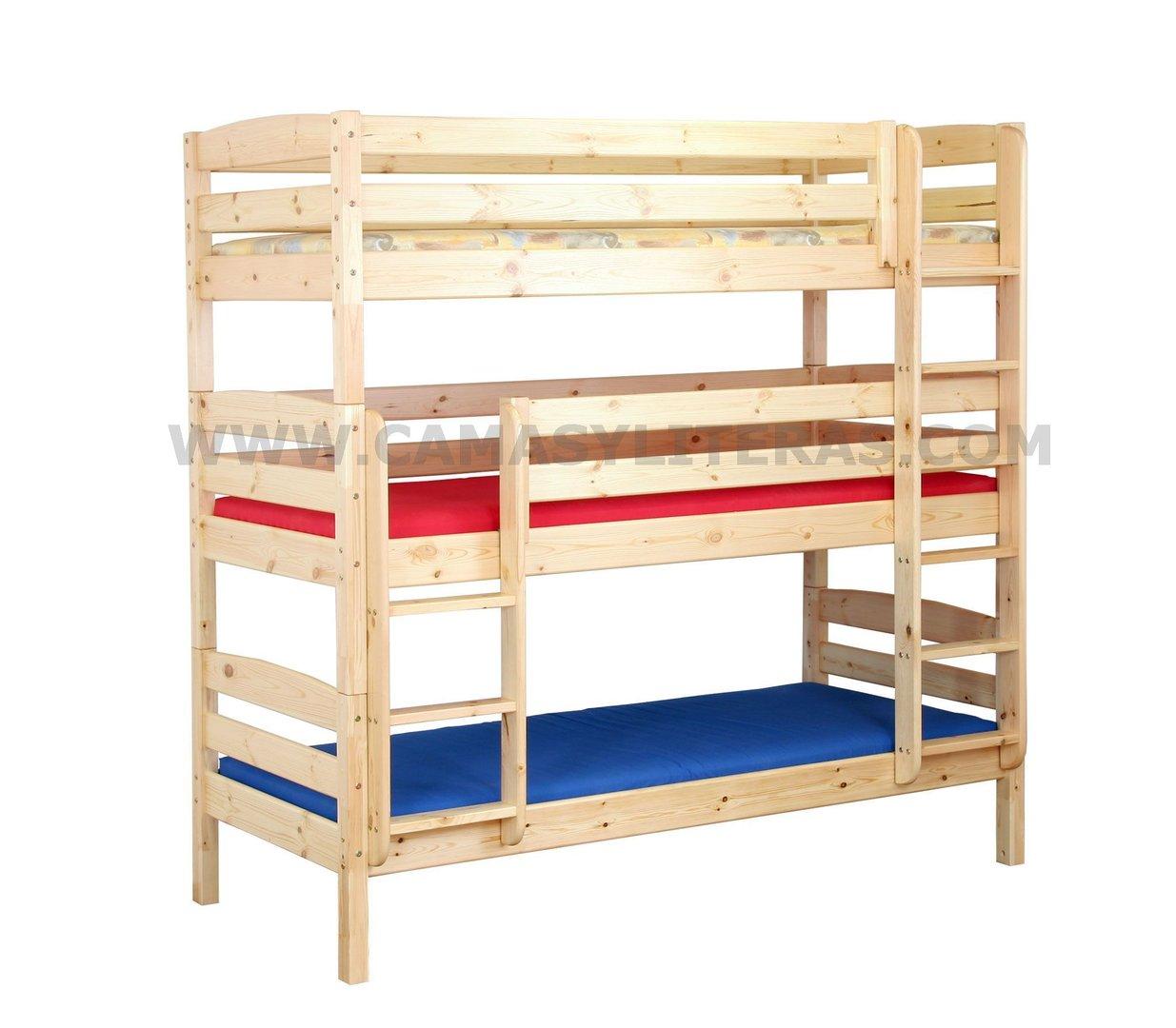 Litera triple xxxl natural 90 x 200 camas y literas for Camas nido triples precios